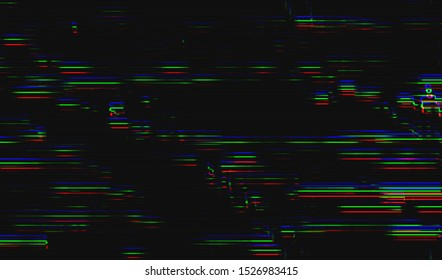 Glitch image of digital noise texture. Damaged VHS pixel screen. Background of distorted television signal. Wallpaper error playing video file. Vector illustration.