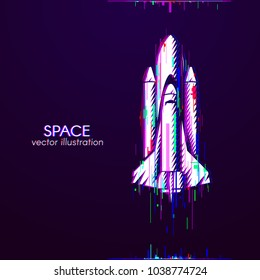 Glitch logo of shuttle white. Anaglyph space logo. Cosmos sign on dark background. White object with anaglyph color effect. Vector illustration.