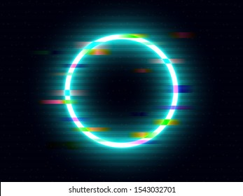 Glitch neon circle with color distortions. Illuminated round element. Futuristic bright ring with geometric shapes. Glitched circle with VHS retro effect. Vector illustration.