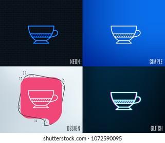 Glitch, Neon effect. Bombon coffee icon. Hot drink sign. Beverage symbol. Trendy flat geometric designs. Vector