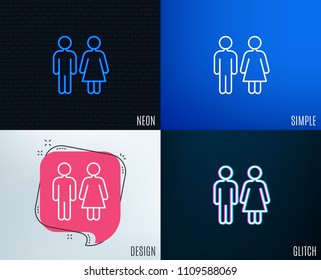Glitch, Neon effect. Restroom line icon. WC toilet sign. Public lavatory symbol. Trendy flat geometric designs. Vector