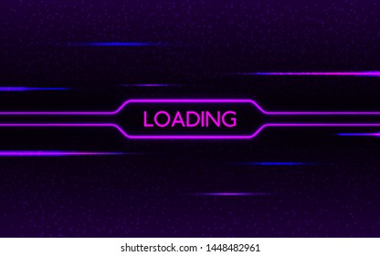Glitch neon loading. Cyberpunk futuristic concept. Purple and blue glowing lights on dark pixel background. Creative design with color lines. Neon effect. Vector illustration.