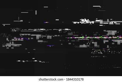 Glitch no signal. Abstract digital distortion. VHS noise backdrop with horizontal lines. Video error and color pixels. Glitch TV screen with overlay effect. Vector illustration.