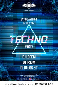 Glitch party poster with blue background and triangle for techno rave club nights. Advertising leaflet or flyer with modern electronic music dance party