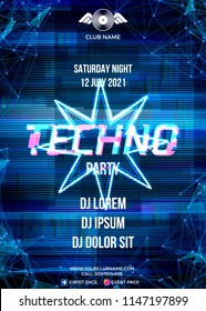 Glitch party poster with blue background and star for techno rave club nights. Advertising leaflet or flyer with modern electronic music dance party