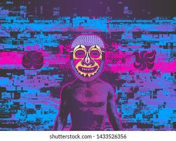 Glitch party poster with man in ritual tribal mask. Vector Illustration.