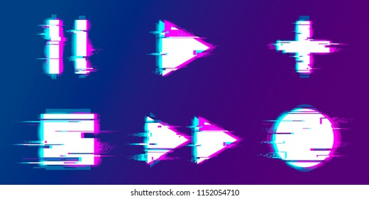 Glitch play, pause, record, play buttons.  Set of abstract minimal template design for branding, advertising, modern background cover posters, banners, flyers, placards.