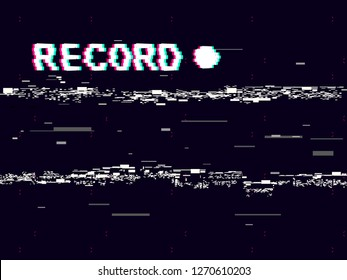 Glitch record with white distortions on black background. VHS concept with abstract geometric shapes. Retro camera template. Old cam play, rec and rewind. No signal effect. Trendy vector illustration.