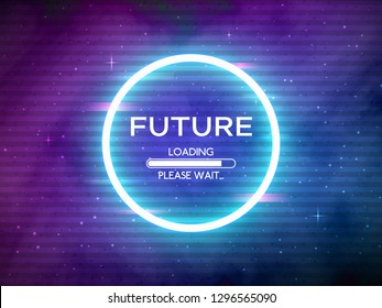 Glitch retro future. Glowing neon circle. Round frame with data loading. Space background and futuristic concept with glitched elements. Sci-Fi backdrop. Cosmic theme. Vector illustration.