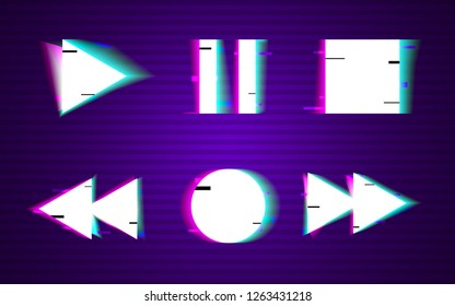 Glitch set of buttons. Minimal design. Play, rewind, stop, pause,record collection elements. VHS shapes with distortion noise. Retro background with glitched lines. Old TV effect. Vector illustration.