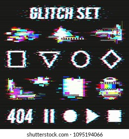 Glitch set on black background with geometric forms and font with distortion effect flat vector illustration