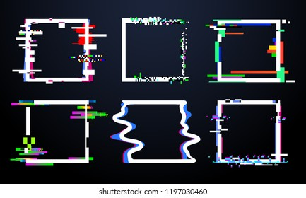Glitch square frame. Trendy glitched squares shapes, abstract dynamic geometry frames with noise glitches. Distortion digital glitch video interference crash frame design vector isolated icons set