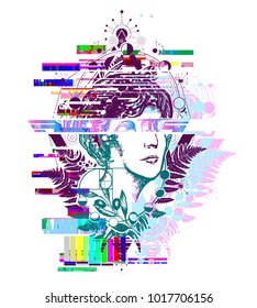 Glitch tattoo. Magic woman goddess Aphrodite. Science and education. Symbol of vapor wave, retro wave music, glitch art