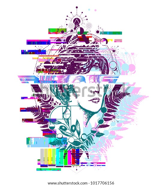 Glitch Tattoo Magic Woman Goddess Aphrodite Stock Vector