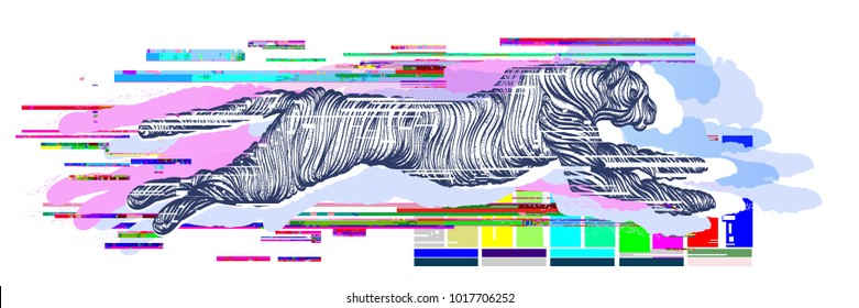 Glitch tattoo. Running cheetah. Jumping panther, mystical sacred geometry. Sign hunting, travel, tourism. Glitch art