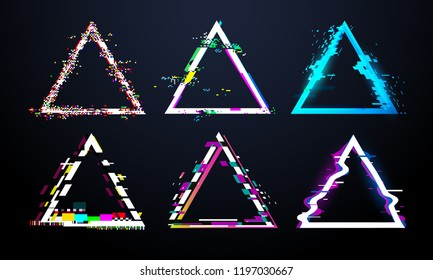 Glitch triangle frame. Distorted tv screen, flaw light bug effects on defect glitched triangles.