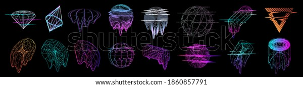 Glitch universal trendy shapes collection in Retrofuturism style. Abstract objects and forms with glitch - liquid and defect effect. Trendy bag shapes cyberpunk, Vaporwave memphis. Vector elements set