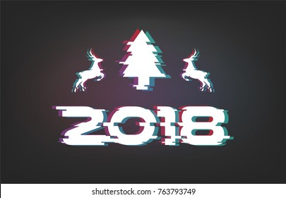 Glitch vector illustration, 2018 Happy New Year on black background with christmas tree and deers. Text design with gradients