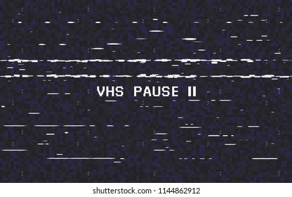 Glitch VHS on black background. Old tape effect. Glitched lines noise. Video recorder pause. Retro backdrop. Vector illustration.