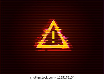 Glitched Attention / Danger Symbol. Computer Hacked Error Concept. Vector Illustration.