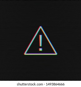 Glitched attention sign on black background with tv moire noise texture. Computer hacked danger error concept. Exclamation mark in triangular frame. Interference in air. Dark vector illustration