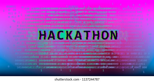 Glitched binary code on purple holographic background. Hackathon event template.