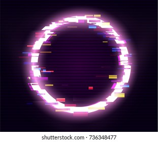 Glitched Circle Frame Design. Distorted Glitch Style Modern Background. Glow Design for Graphic Design - Banner, Poster, Flyer, Brochure, Card. Vector Illustration.