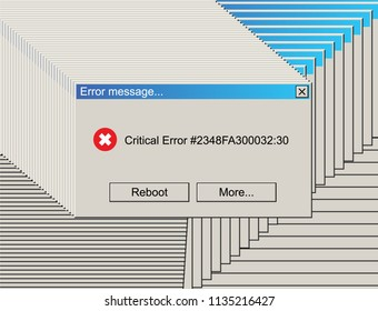 Glitched Critical Error Warning Message. Vintage User Interface. Vector Illustration.