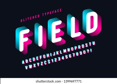 Glitched display font design, alphabet, typeface, letters and numbers, typography. Swatches color control