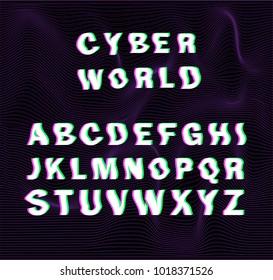 """Glitched font """"Cyber world""""."""
