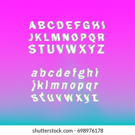 Glitched font, vector typeface on pink background.