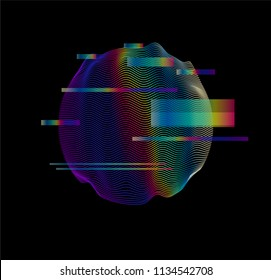 Glitched holographic sphere on dark background. Webpunk style illustration. Vaporwave/ synthwave style, 80s-90s aesthetic.