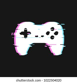 Glitched icon of gamepad vector illustration. Isolated joystick with noise effects on dark background