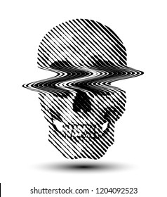 Glitched line halftone skull from 3D black and white rendering. Vector illustration.