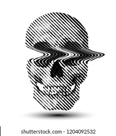 Glitched line halftone skull from 3D rendering. Black and white vector illustration.
