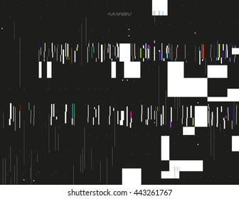 Glitched lines and colorful rectangular shapes. Bunch of collapsing data. Signal error in the dark digital space. Abstract background illustration. Element of design for poster, invitation or web.