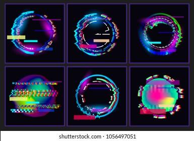 Glitched  Oval's Frame Design set. Distorted Glitch Style Modern Background. Glow Design for Graphic Design - Banner, Poster, Flyer, Brochure, Card. Vector Illustration.