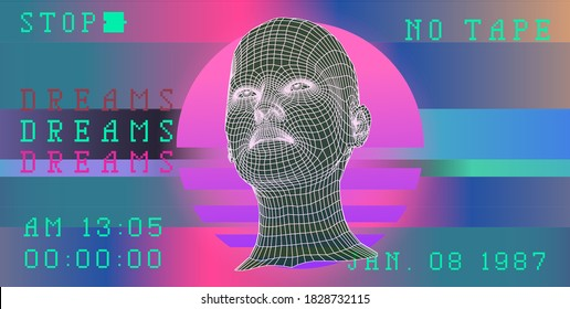 Glitched screen with low poly 3D head. Conceptual illustration of Biometrics, Facial Recognition and Virtual Reality.