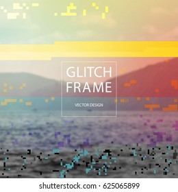 Glitched style design template in front of blurry nature landscape. Random colorful digital signal errors on photo of sea. Trendy computer graphic for poster, postcard, application or music album.