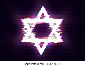Glitched «Magen David» (The Shield of David, or The Star of David, or The Seal of Solomon), the Jewish Hexagram Frame Design. Distorted Glitch Style Modern Background. Vector Illustration.