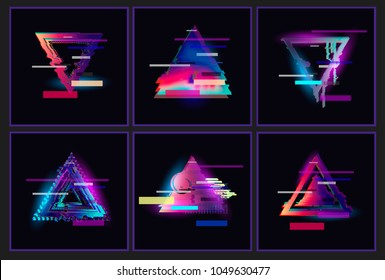 Glitched Triangle Frame Design set. Distorted Glitch Style Modern Background. Glow Design for Graphic Design - Banner, Poster, Flyer, Brochure, Card. Vector Illustration.