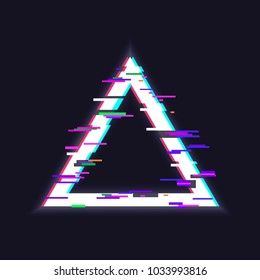 Glitched triangle frame. Glitch effect, distorted triangular shape
