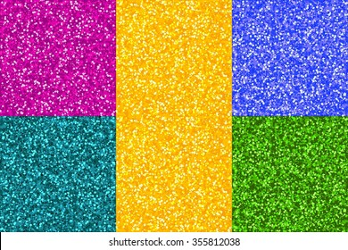 Glitter Abstract Seamless Patterns Set. Gold, Pink, Green, Blue, Turquoise Sparkles on Backdrop. Digital print for interior design and textile industry. Background vector illustration.