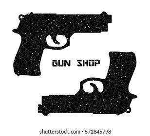 Glitter black pistols. Vintage firearms. Self defense. Mafia or bandit. Vector illustration. Logo Russian roulette style. Guns and ammo, vintage logo, assault rifles on white
