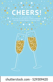 Glitter champagne card with space for text. Vector illustration.