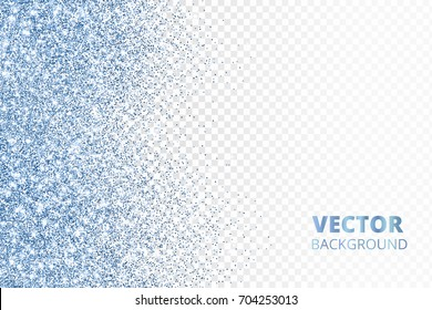 Glitter confetti falling from the side. Blue vector dust, explosion on transparent background. Sparkling border, frame. Great for wedding invitations, party posters, Christmas and birthday cards.