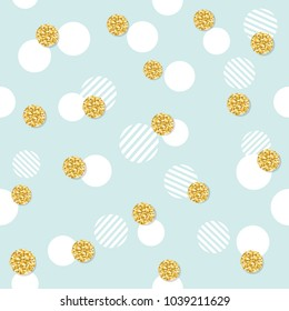 Glitter confetti polka dot seamless pattern background. Golden and pastel blue trendy colors. For birthday and scrapbook design.