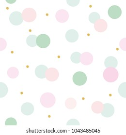 Glitter confetti polka dot seamless pattern background. Pink and pastel blue trendy colors. For birthday, valentine and scrapbook design. Vector
