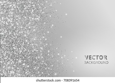 Glitter confetti, snow falling from the side. Vector silver dust, explosion on grey background. Sparkling border, frame. Great for wedding invitations, party posters, Christmas and birthday cards.