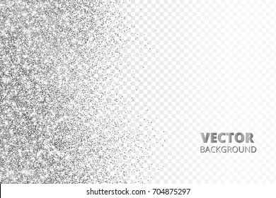 Glitter confetti, snow falling from the side.Vector silver dust isolated on transparent background. Sparkling border, frame. Great for wedding invitations, party posters, Christmas and birthday cards.
